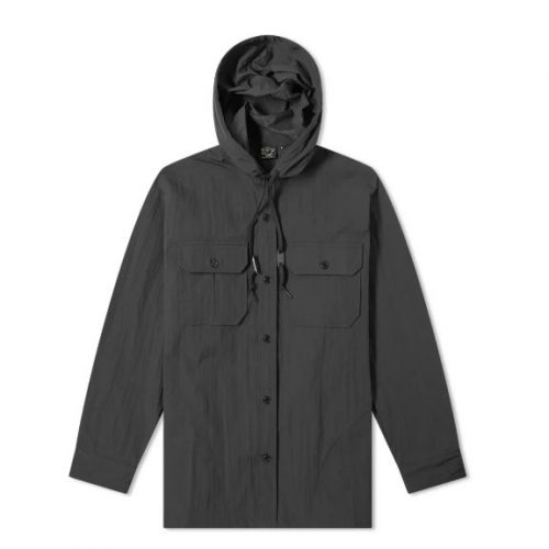 Mens orSlow Hooded Shirt Jacket in Black