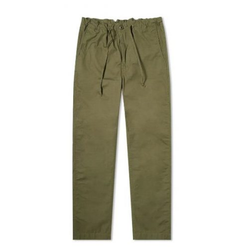 Mens orSlow New York Tapered Pant in Army Green