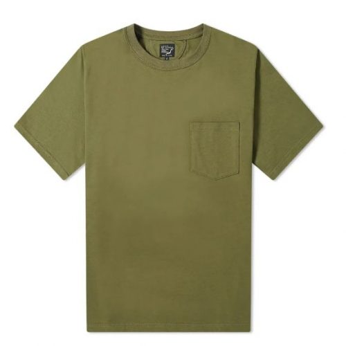 Mens orSlow Cotton-Jersey Pocket T-Shirt in Army Green