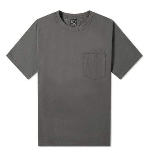 Mens orSlow Cotton-Jersey Pocket T-Shirt in Charcoal Grey