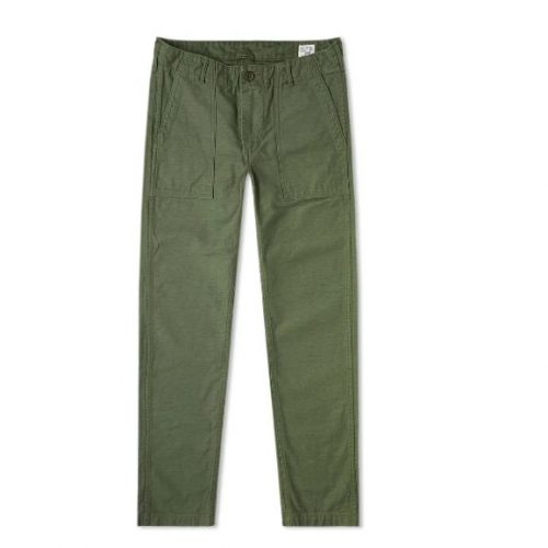 Mens orSlow Slim Fit US Army Fatigue Pant in Green