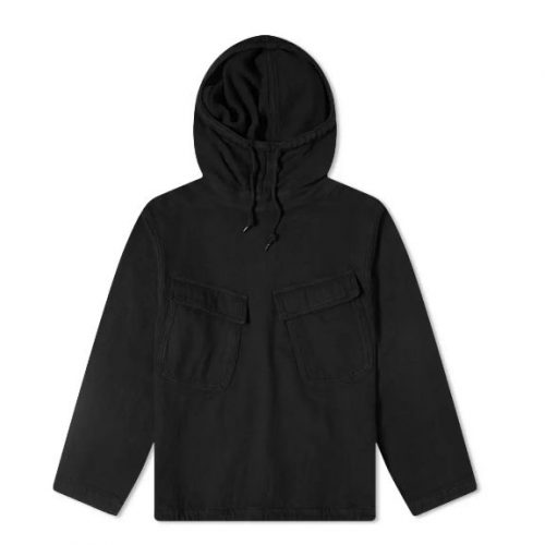Mens orSlow US Navy Salvage Hooded Parka Jacket in Black