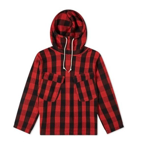 Mens orSlow US Navy Salvage Hooded Parka Jacket in Red and Black