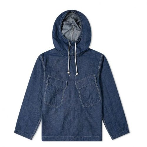 Mens orSlow US Navy Salvage Hooded Parka Jacket in Blue Denim