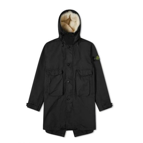 Mens Stone Island Blanket Lined David TC Fishtail Parka Jacket in Black