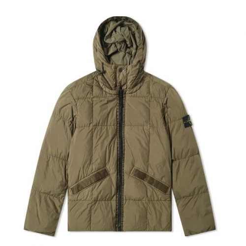 MensStone Island Crinkle Reps Hooded Down Jacket in Green