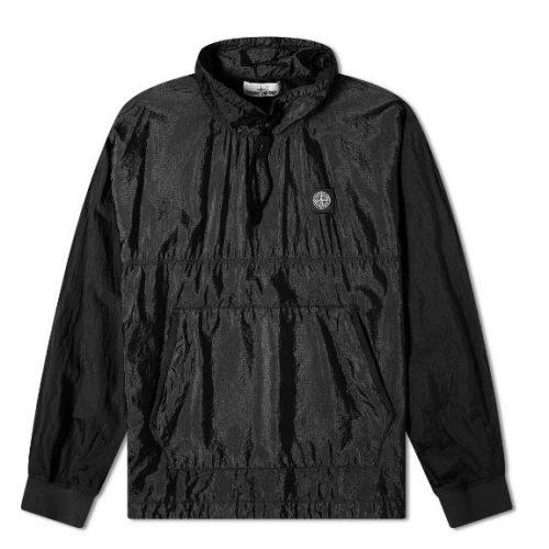 MensStone Island Garment Dyed Nylon Ripstop Metal Smock Jacket in Black