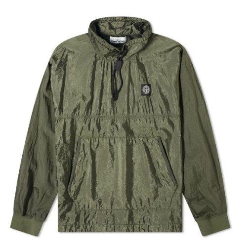 MensStone Island Garment Dyed Nylon Ripstop Metal Smock Jacket in Olive