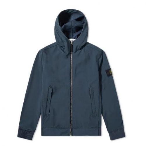 MensStone Island Lightweight Soft Shell-R Hooded Jacket in Blue