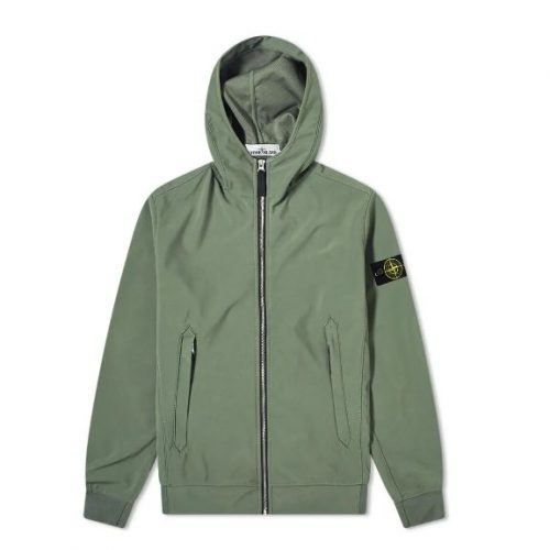 Mens Stone Island Lightweight Soft Shell-R Hooded Jacket in Olive Green