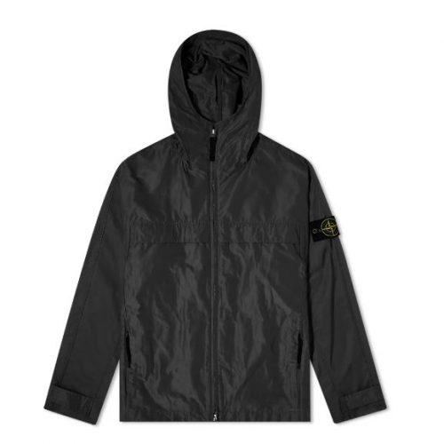 MensStone Island Micro Reps Hooded Jacket in Black