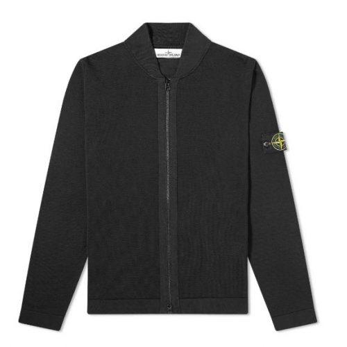 MensStone Island Micro Stitch Knit Bomber Jacket in Black