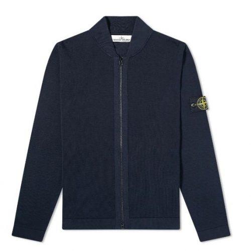 MensStone Island Micro Stitch Knit Bomber Jacket in Blue