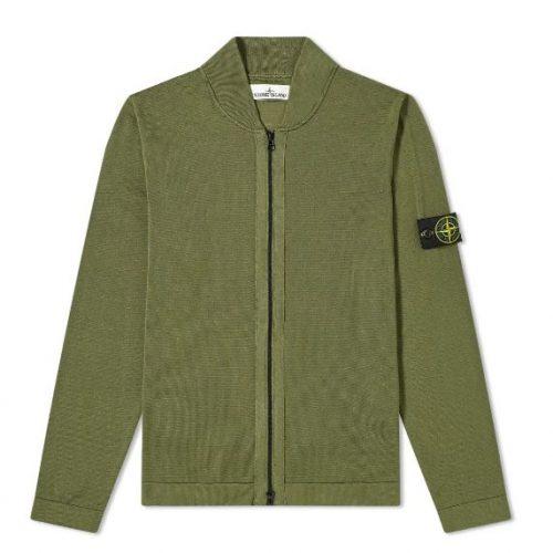 MensStone Island Micro Stitch Knit Bomber Jacket in Olive