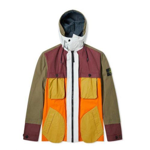 MensStone Island Reflective Patchwork Double Layered Jacket in Orange Multi