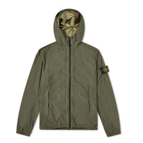 MensStone Island Skin Touch Hooded Jacket in Olive